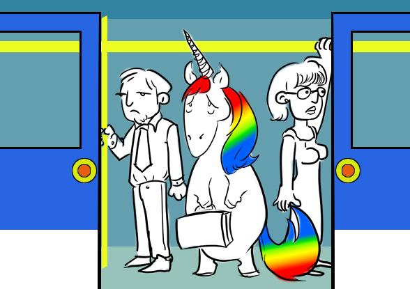 Lunicornio en el metro 1