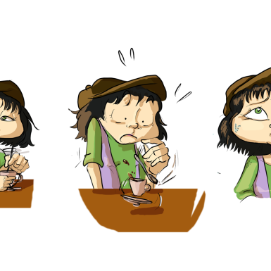 Paloma se toma un café en una viñeta